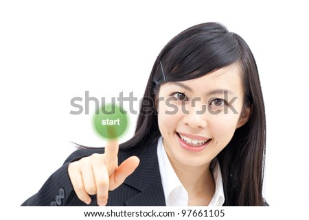 young woman touching the screen with her finger, isolated on white background - stock photo