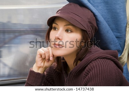 Young woman travel in passenger roomette