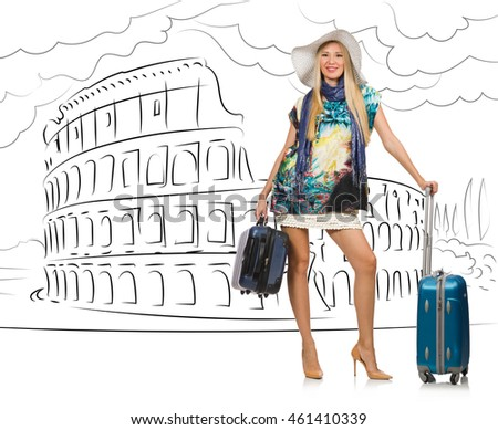 Young woman travelling to Rome in Italy