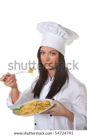 Young woman tried her home-made pasta dish