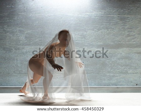 Young woman under transparent cloth 3D Render