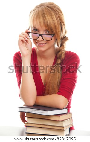 young woman university student looks to camera dangling eyeglasses isolated on white background