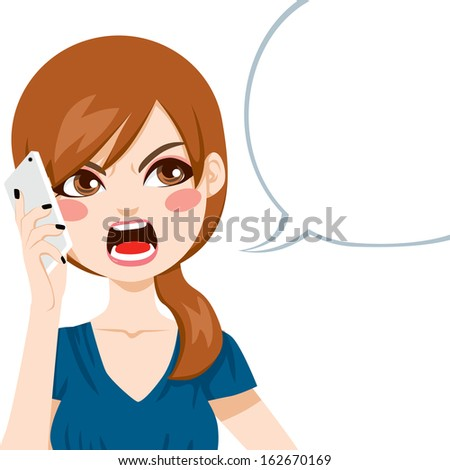 Young woman upset screaming angry in a phone call conversation - stock photo