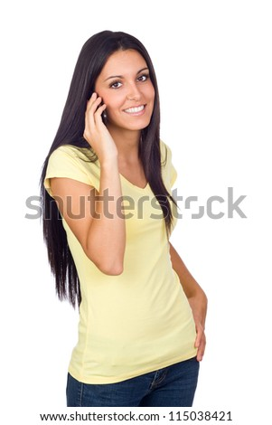 Young Woman Using a Cell Phone Isolated on White - stock photo