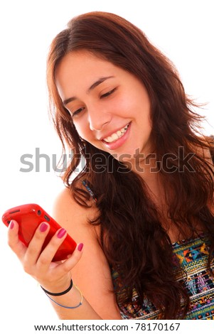 young woman using a cell phone over white background
