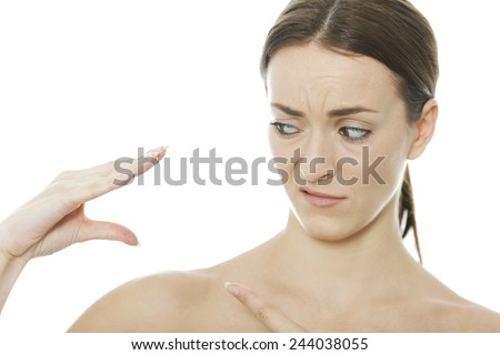 Young woman using her hand as a puppet expressing inner voice - stock photo