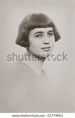 Young Woman Vintage Photo - stock photo