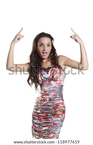 young woman vintage style pointing on white background - stock photo