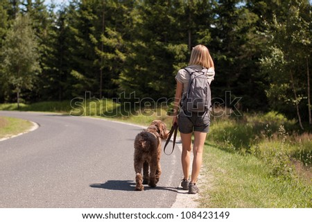 Young woman walking along the road with a brown dog - stock photo