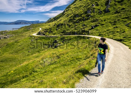 Young woman walking around Norway