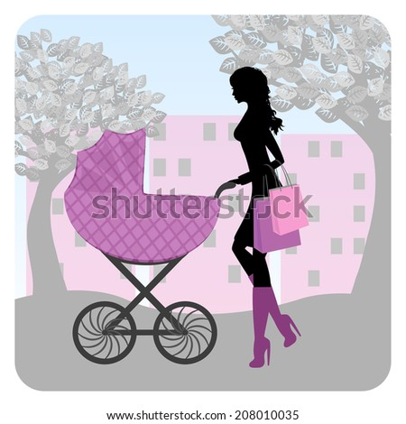 Young woman walking in park with stroller. Raster version  - stock photo