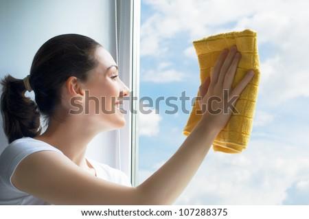 young woman washing windows - stock photo