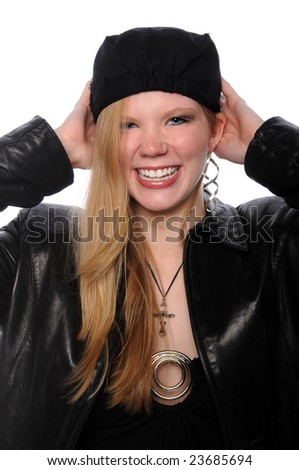 Young woman wearing a black hat smiling - stock photo