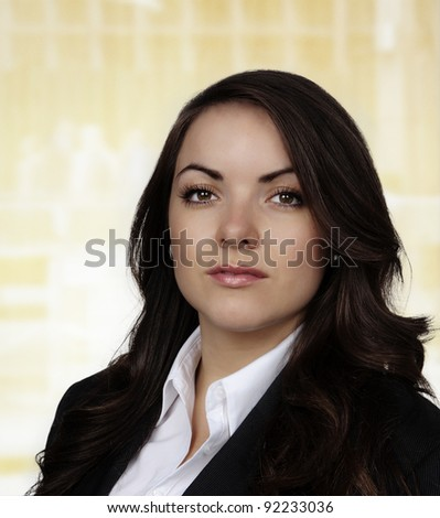 young woman wearing a business suite shot on the studio - stock photo