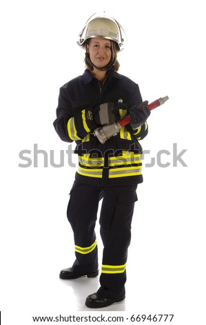 Young woman wearing a fire brigade uniforms and helmet and holding a fire spike in the hand against a white background - stock photo