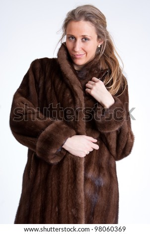 Young woman wearing a mink coat - stock photo