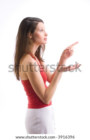 young woman wearing a red shirt is pointing at something