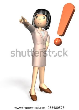 Young woman wearing a suit. She is pointing someone. - stock photo