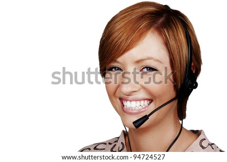 young woman wearing a telephone headset on a call - stock photo