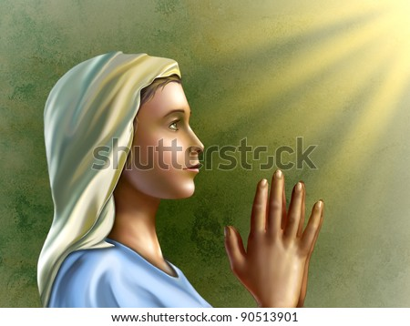 Young woman wearing an hood is praying with devotion. Digital illustration. - stock photo