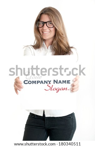 Young woman wearing glasses holding a blank square, perfect for inserting your own message - stock photo