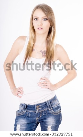 Young woman wearing jeans and shirt / sexy woman
