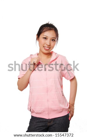Young woman wearing pink Jersey, isolated on white. - stock photo