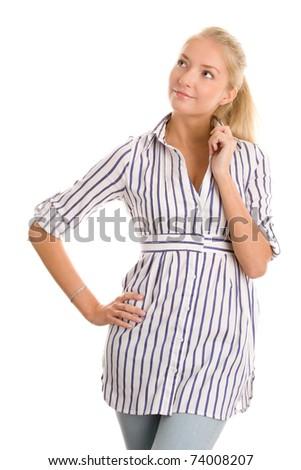 Young woman wearing shirt - stock photo