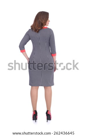 young woman wearing the office dress, back view - stock photo