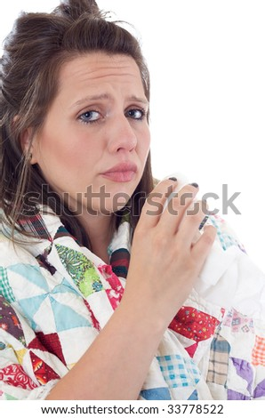 Young woman whom is sick and not feeling well; isolated on a white background. - stock photo