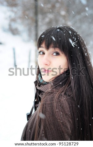 Young woman winter portrait - stock photo