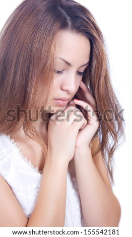 Young woman with a depression isolated - stock photo