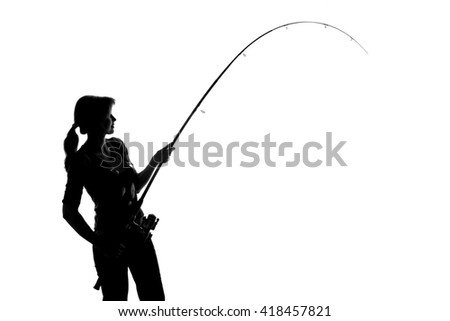young woman with a fishing rod