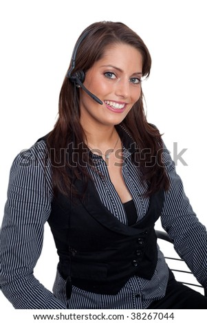 Young woman with a headset - stock photo