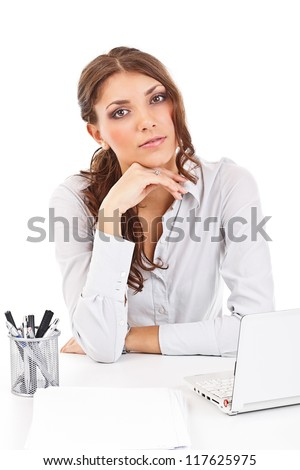 Young woman with a laptop isolated on white background - stock photo