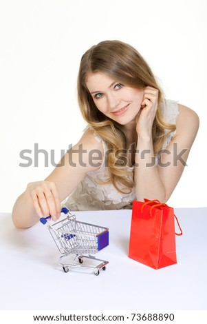 young woman with a lot of shopping bags
