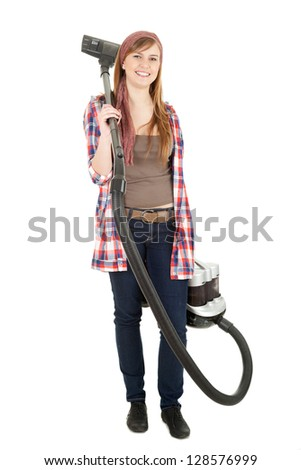 young woman with a vacuum cleaner, white background