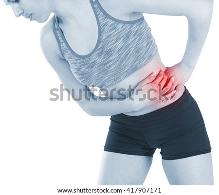 Young woman with adombinal pain and stomach cramps - stock photo