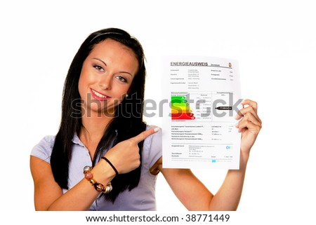 Young woman with an Energy Performance Certificate (Germany) - stock photo