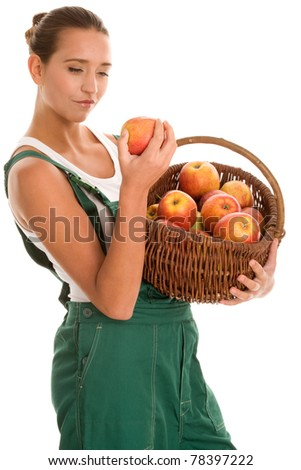 Young woman with apples - stock photo