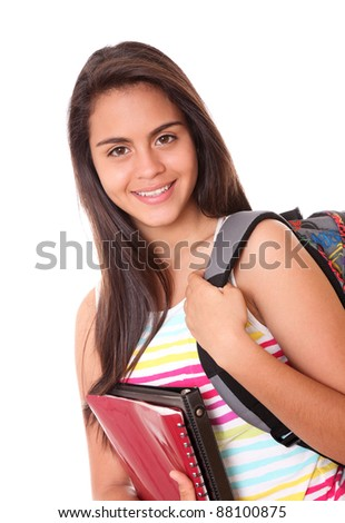 young woman with bag and folders over white background - stock photo