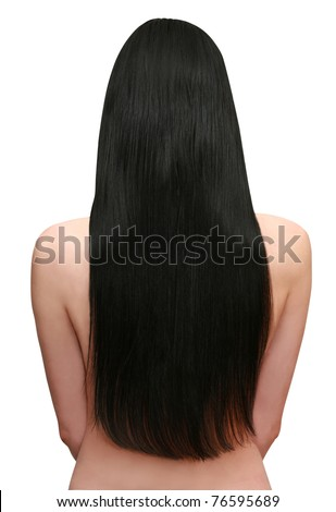 young woman with beautiful black hair - stock photo