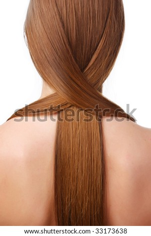 young woman with beautiful brown long hair - stock photo