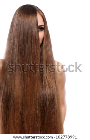 Young woman with beautiful hair over white bakcground