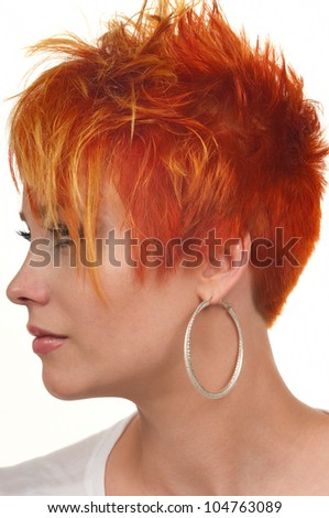 Young woman with beautiful haircut - stock photo
