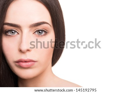 Young woman with beautiful healthy face - stock photo