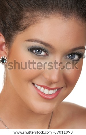 Young woman with beautiful make up - stock photo