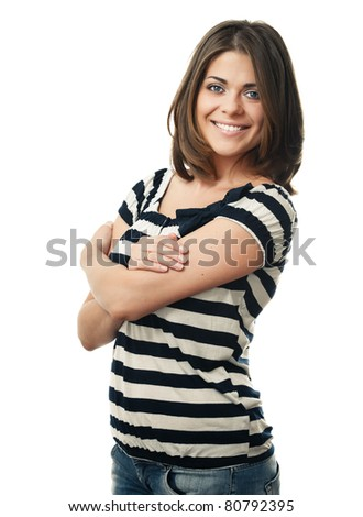 Young woman with beauty skin. isolated over white background - stock photo