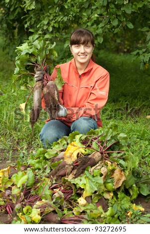 young woman with beetroot harvest in field - stock photo