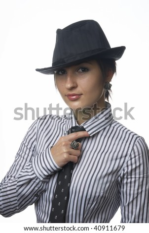 Young woman with black necktie and hat on isolated background